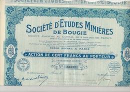 SOCIETE D'ETUDES MINIERES DE BOUGIE -ALGERIE - ACTION DE 100 FRS -ANNEE 1924 - Mines