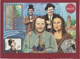 LA JOCONDE MONA LISA  CARTE PERSONNELLE DE ROBERT CRESPIN ILLUSTRATION ANDRE ROUSSEY CHAPLIN LAUREL ET HARDY - Other Illustrators