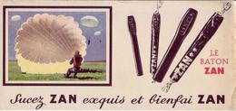 Buvard : Le Baton Zan - Réglisse, Parachutiste - - Sucreries & Gâteaux