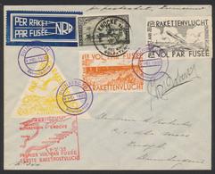 """Erinnophilie - E7/9 Sur Lettre """"Par Fusée"""" De Knocke Vers Duinbergen + Cachet à Pont Violet """"Duinbergen"""" 9/5/35. TB - Commemorative Labels"""