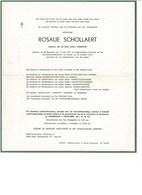 Rosalie SCHOLLAERT 1875 1977 Wd/v Arthur VANHYFTE Sint-Margriete  Sint-Laureins - Obituary Notices