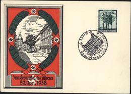 Carte Zum Geburtstag Des Führers 20 April 1938 CAD Illustré Linz YT 605 Allemagne Autriche Unies Réunification - Germany