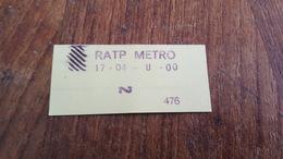 Ticket   RATP Métro 2 CLASSE 27 04 1975 Défense/auber - Europe
