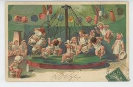 ENFANTS - BÉBÉS - Jolie Carte Fantaisie Bébés Sur Manège Pots De Chambre - Bébés