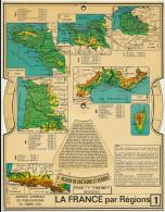 Ancienne Carte Des Régions De France à Systéme, Recto-verso Avec Molettes, 12 Régions, Agence Générale De Publications - Cartes Géographiques