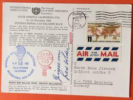 USA 1965: INT. AERO-CLASSIC PALM SPRINGS 14.11.65 Mit Original-Autogramm Des Siegers Fred Dolder - Montgolfier