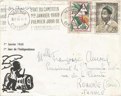 Cameroun Cameroon 1960 Yaounde First Day Independence Special Machine Cancellation Cover - Cameroon (1960-...)