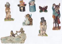 8 TRES JOLIS  DECOUPIS CHATS / CHATONS / CHIENS /ANE / OISEAU / PAPILLON - Anges