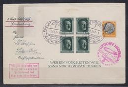 Dt.Reich 1.5.1937 Zeppelinbrief LZ 129 Deutschlandfahrt Auflieferung Rhein-Main Abwurf Köln Brief MiF 528+Bl. 8 - Germany