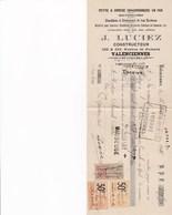 VALENCIENNES J LUCIEZ PETITE GROSSE CHAUDRONNERIE EN FER DISTILLERIE BRASSERIE SUCRERIE ANNEE 1925 TIMBRE CACHET - Non Classés