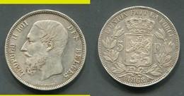 BELGIQUE - 5 FRANCS LEOPOLD II 1868 - 1865-1909: Leopoldo II