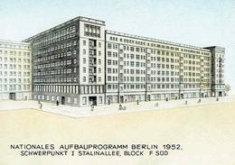 Nationales Aufbauprogramm BERLIN 1952 - Schwerpunkt I Stalinallee , Block F Süd - Alemania