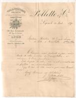 1891 POLLETTE ET CIE LYON / VINS ET SPIRITUEUX LOQUEURS / DESSIN ANCRE TONNEAUX VIGNE RAISIN B332 - Food
