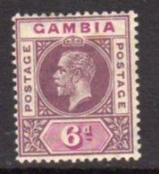 Gambia GV 1912-22 6d Dull & Bright Purple, Wmk. Multiple Crown CA, Hinged Mint, SG 94 (BA) - Gambia (...-1964)