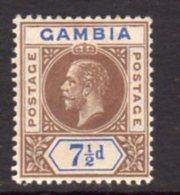 Gambia GV 1912-22 7½d Brown & Blue, Wmk. Multiple Crown CA, Hinged Mint, SG 95 (BA) - Gambia (...-1964)