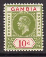 Gambia GV 1912-22 10d Sage-green & Carmine, Wmk. Multiple Crown CA, Hinged Mint, SG 96 (BA) - Gambie (...-1964)