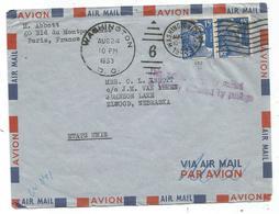 GANDON 15FRX2 LETTRE OBL AMERICAINE WASHIGTON DC 1953  POUR LES USA VALISE DIPLOMATIQUE - 1945-54 Marianne De Gandon