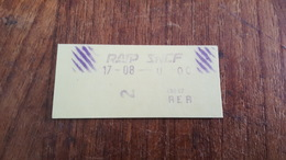 Ticket   RATP SNCF 2 CLASSE - Metropolitana