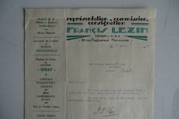 (053) FACTURES DOCUMENTS COMMERCIAUX. 47 LOT ET GARONNE MARMENDE. FRANCIS LEZIN. Fromage, Café...1930. - Food