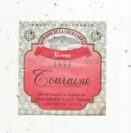 étiquette De Vin , DOMAINE DE LA COUR CARREE ,gamay ,1990 ,TOURAINE ,Angier,41 ,OISLY - Labels