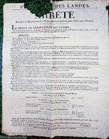 Placard 1822 < PREFECTURE DES LANDES <  PRIMES D'ENCOURAGEMENT Pour L'ELEVE Des CHEVAUX - Affiches