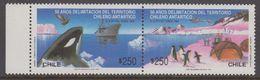 Chile 1990 Antarctica / Treaty / Penguins / Whale 2v Se Tenant ** Mnh (40979B) - Chile