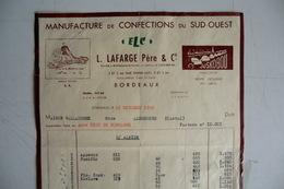 (054) FACTURES DOCUMENTS COMMERCIAUX. 33 GIRONDE BORDEAUX. L. LAFARGE Père Et Cie.  Manufacture De Confections. 1952. - Textile & Vestimentaire