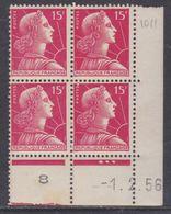 France N° 1011 XX Marianne De Muller : 15 F. Rose Carminé En Bloc De 4 Coin Daté Du 1 . 2 . 56  3 Pts Blancs  Ss Ch TB - Ecken (Datum)