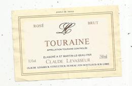 étiquette De Vin  , Rosé ,brut ,TOURAINE , Levasseur ,37 ,MONTLOUIS SUR LOIRE - Labels