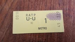 Ticket   RATP METRO  1 CLASSE - Metropolitana