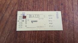 Ticket   RATP METRO  1 CLASSE PERFORE - Europe