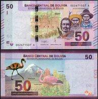 Bolivia 2018 Nueva Emision De Billetes: 50 Bolivianos: Flamenco. Nevado Sajama. Quinua. Personajes. - Bolivie