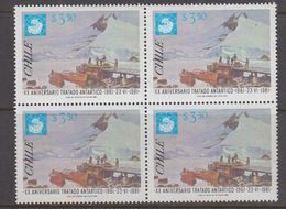 Chile 1981 Antarctic Treaty 1v Bl Of 4 ** Mnh (40979C) - Chili