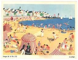"""Carte """" Images De La Vie """" (15) : La Plage, Mer, Sable, Tente, Phare, Voilier, Tennis, Badmington - Vieux Papiers"""
