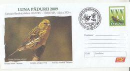 7008FM- EUROPEAN SERIN, BIRDS, COVER STATIONERY, 2009, ROMANIA - Sparrows