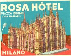 ETIQUETA DE HOTEL  - ROSA HOTEL  -MILANO  -ITALIA - Etiquetas De Hotel