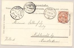 Schweiz - 1902 - 10c Kreuz On Postcard From Rigi-Scheideck To KR NICHTEVECHT / Nederland - 1882-1906 Wapenschilden, Staande Helvetia & UPU