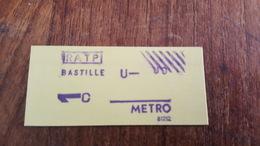 Ticket   RATP METRO  1 CLASSE BASTILLE - Europe