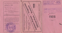 Laissez Passer Ausweiss Territoires Occupes  Armee Francaise Du Rhin 1928 Renée Epouse Du Sergent Lambert 150è R.I. - Militaria