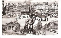 Bonjour De Bruxelles-+/-1950-Multivues-Manneken-Pis-Grand'Place-Bourse-Place De Brouckère...Tram-Tramway-Edit. Fotoprim - Places, Squares