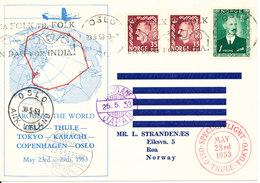 Norway SAS Around The World Flight Oslo-Thule-Tokyo-Karachi- Copenhagen- Oslo 23 To 29-5-1953 - Storia Postale