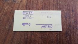Ticket   RATP METRO  1 CLASSE GARE D'AUSTERLITZ - Europe