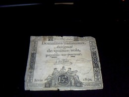 Assignat   Domaines Nationaux 15  Sols Serie 1840  An  1 - Shareholdings