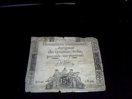 Assignat   Domaines Nationaux 15  Sols Serie 1840  An  1 - Altri