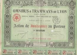 OMNIBUS ET TRAMWAYS DE LYON -ACTION DE JOUISSANCE  -ANNEE 1923 - Chemin De Fer & Tramway