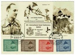 Ref 1232 - 1953 Liechtenstein Scouting Postcard - Vaduz 1937 Jamboree & Baden-Powell - Scouting