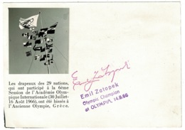 Ref 1232 - 1966 Printed Autograph Of Emil Zatopek Olympic Champion On Special Postcard Sport Theme - Olympic Games