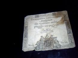 Assignat De  15  Sols Serie 1758   An 4  Domaines Nationux - Shareholdings