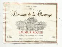 étiquette De Vin  , Domaine De La CHESNAYE ,Saumur Rouge,Sourice, GESTE , Maine Et Loire - Labels