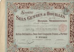 SOCIETE DES SELS GEMMES ET HOUILLES DE LA RUSSIE MERIDIONALE- 2 ACTIONS 250 FRS -ANNEE 1911 - Mines